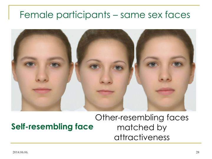 Female participants – same sex faces