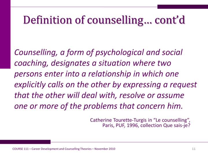 Definition of counselling… cont'd