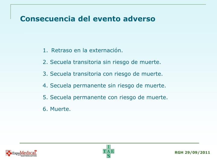 Consecuencia del evento adverso