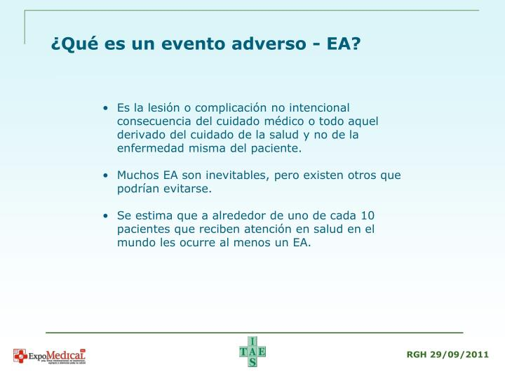 Qu es un evento adverso ea