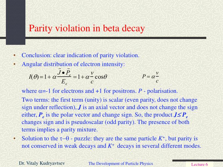 Parity violation in beta decay