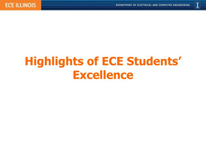Highlights of ECE Students' Excellence