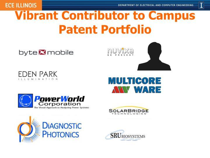 Vibrant Contributor to Campus Patent Portfolio