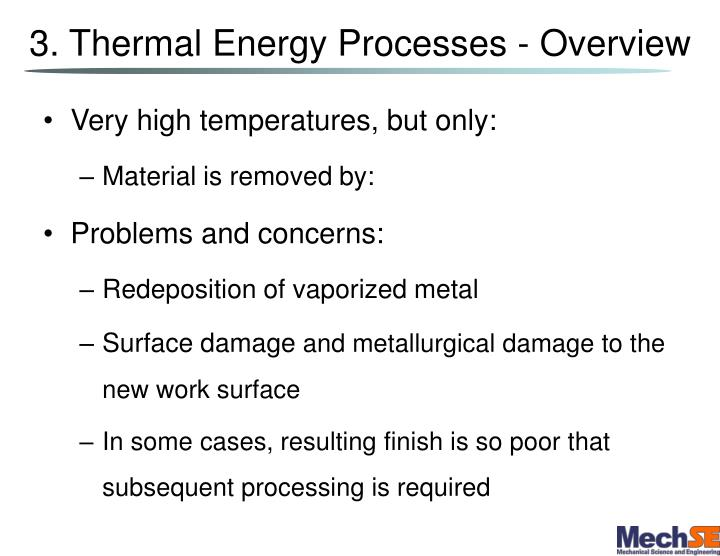 3. Thermal Energy Processes - Overview
