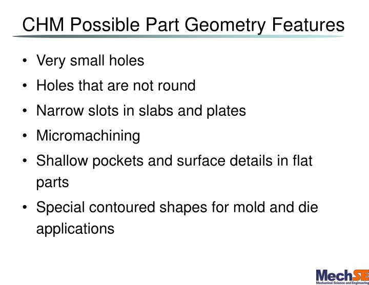 CHM Possible Part Geometry Features