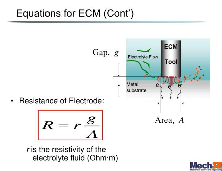 Equations for ECM (Cont')
