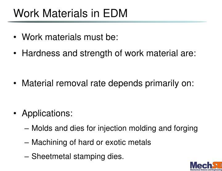 Work Materials in EDM