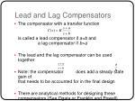 lead and lag compensators