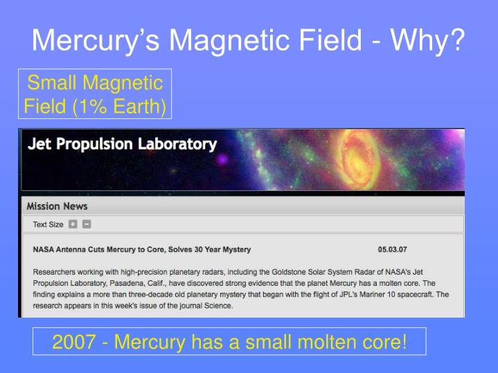 Mercury's Magnetic Field - Why?