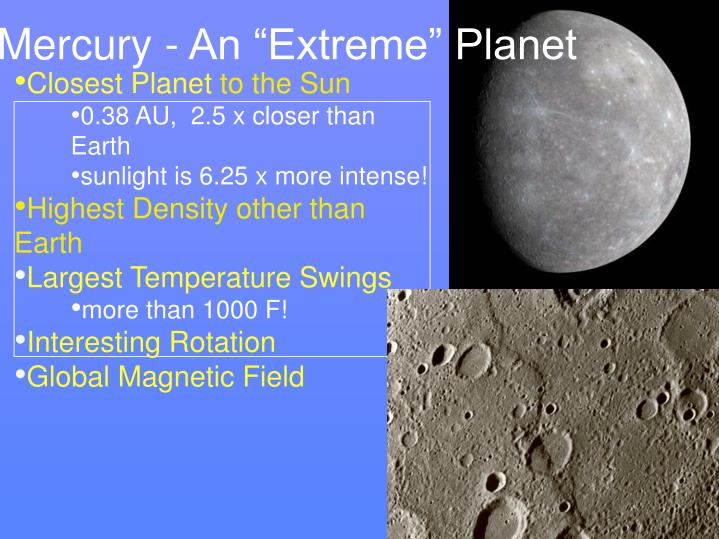 "Mercury - An ""Extreme"" Planet"