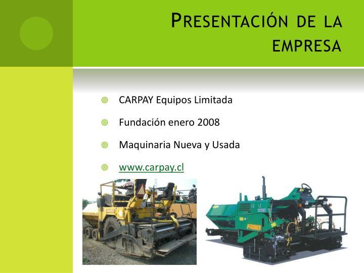Presentación de la empresa