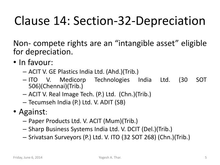 Clause 14: Section-32-Depreciation