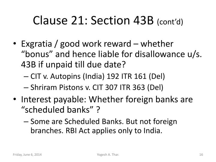 Clause 21: Section 43B