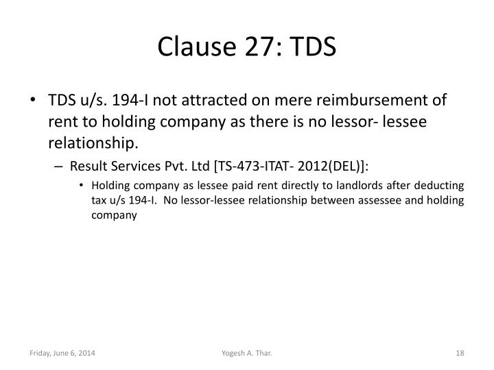 Clause 27: TDS