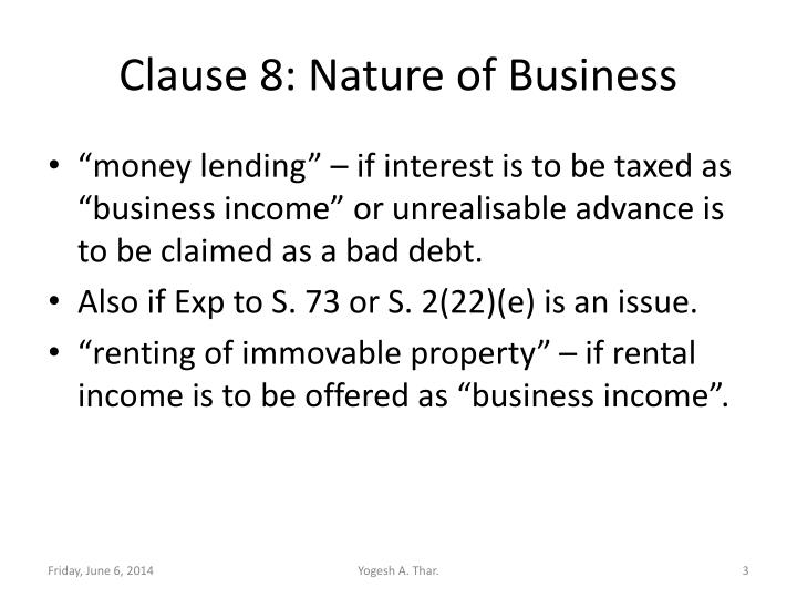 Clause 8 nature of business
