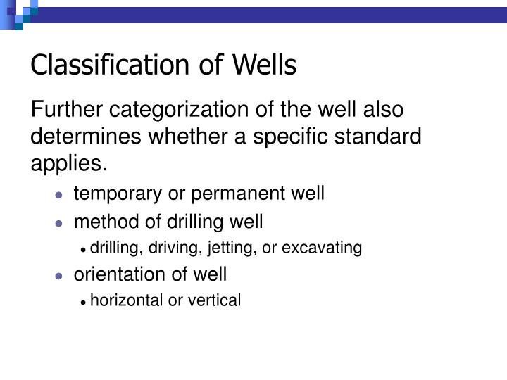 Classification of Wells