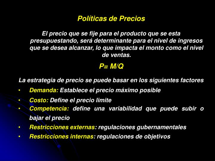 Políticas de Precios