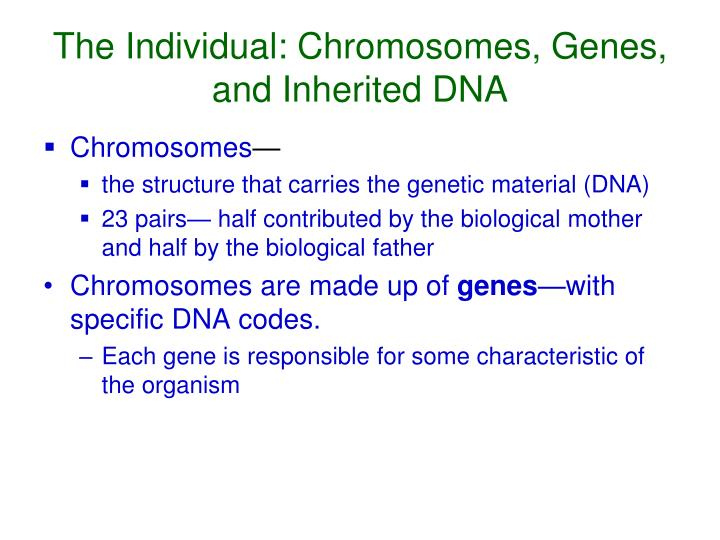 The Individual: Chromosomes, Genes, and Inherited DNA
