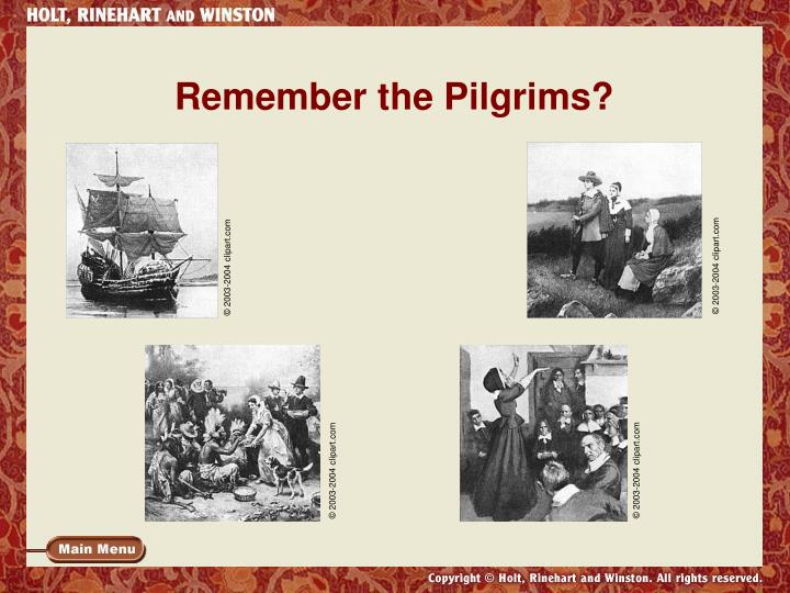 Remember the pilgrims
