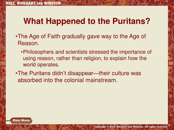 What Happened to the Puritans?