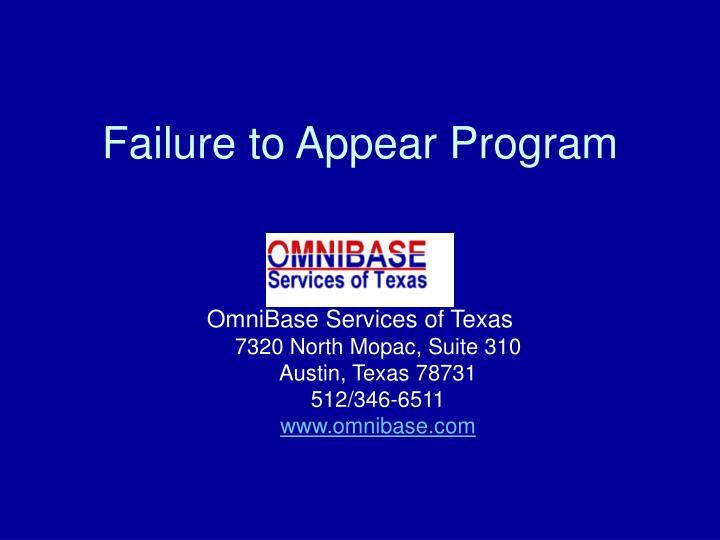 Failure to Appear Program