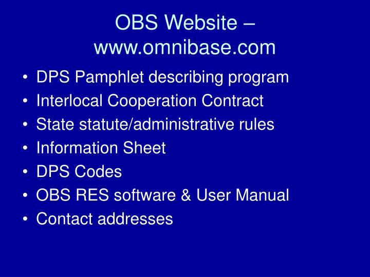 OBS Website – www.omnibase.com