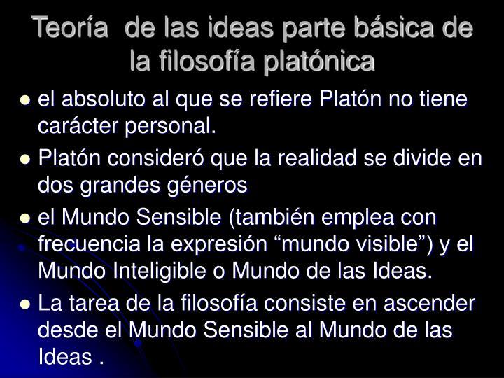 Teoría  de las ideas parte básica de la filosofía platónica