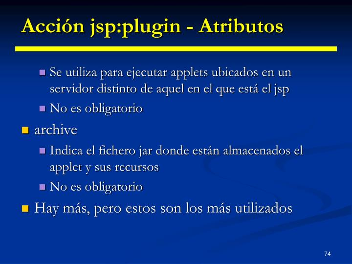 Acción jsp:plugin - Atributos