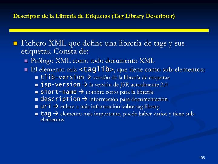 Descriptor de la Librería de Etiquetas (Tag Library Descriptor)