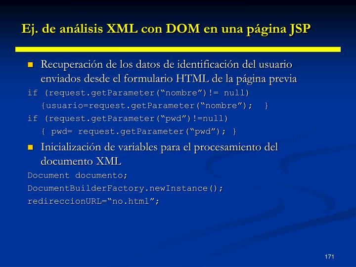 Ej. de análisis XML con DOM en una página JSP