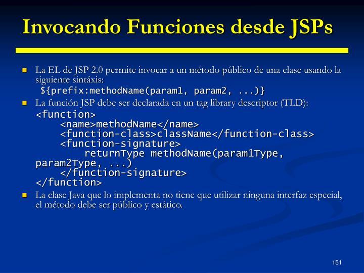 Invocando Funciones desde JSPs