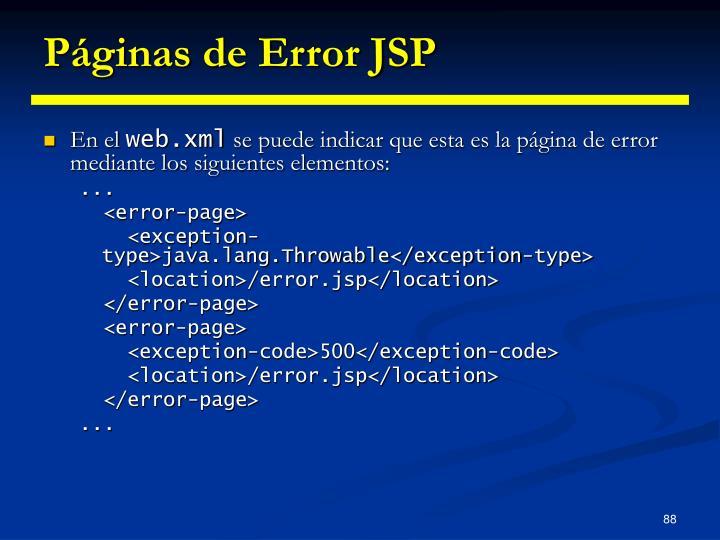 Páginas de Error JSP