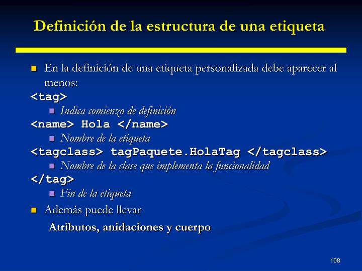 Definición de la estructura de una etiqueta