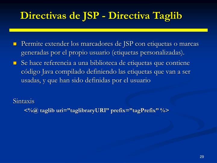 Directivas de JSP - Directiva Taglib