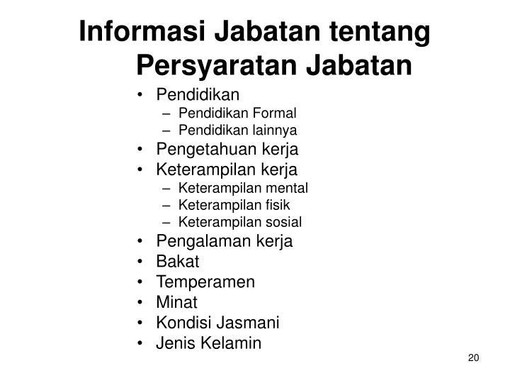 Informasi Jabatan tentang Persyaratan Jabatan