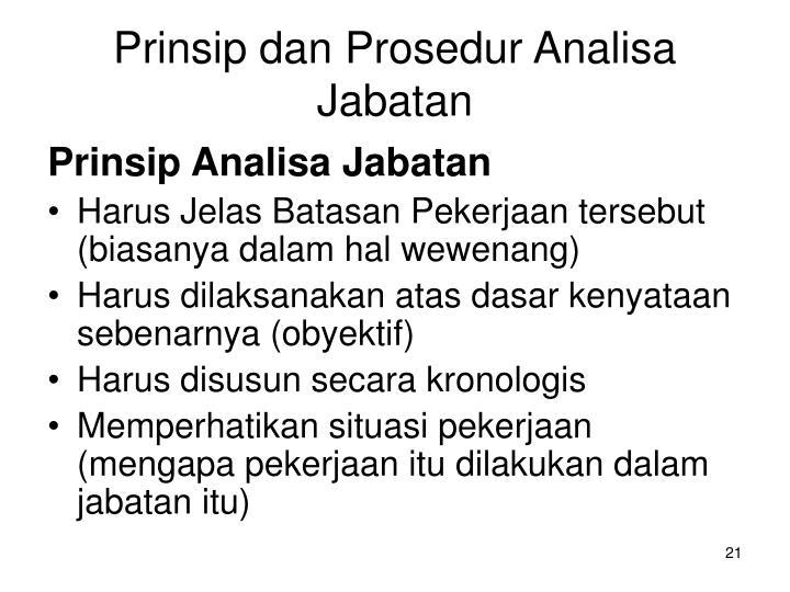 Prinsip dan Prosedur Analisa Jabatan