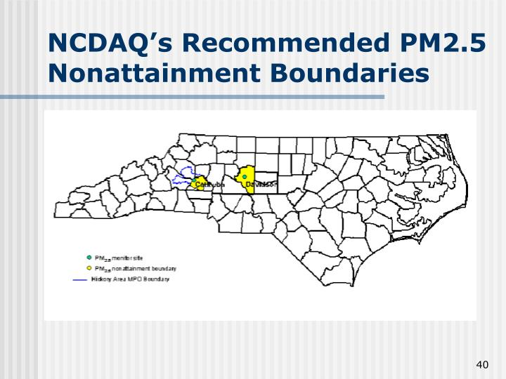 NCDAQ's Recommended PM2.5 Nonattainment Boundaries