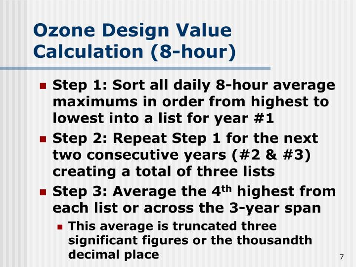 Ozone Design Value Calculation (8-hour)
