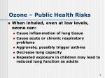 ozone public health risks