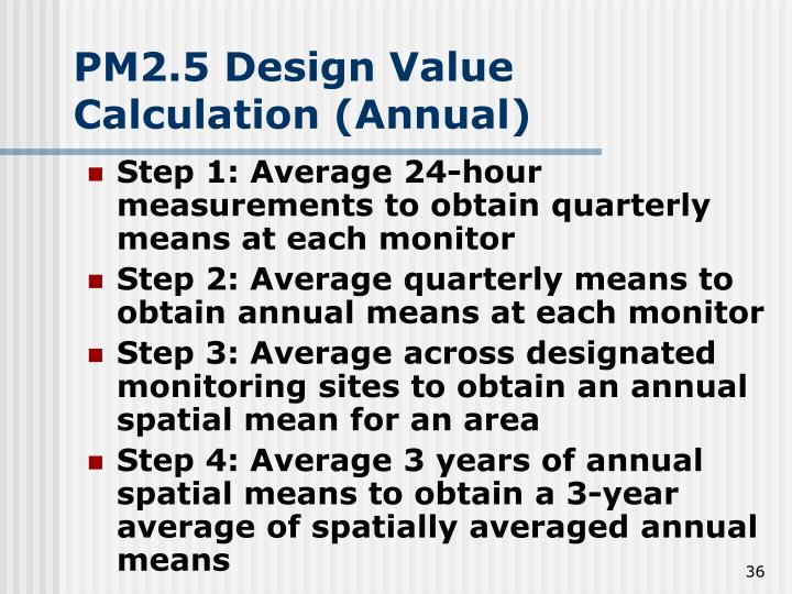 PM2.5 Design Value Calculation (Annual)