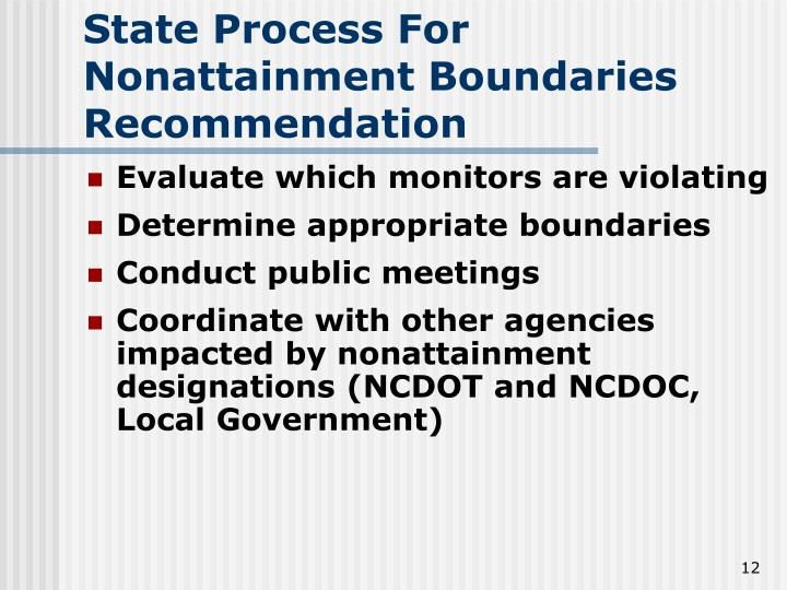 State Process For Nonattainment Boundaries Recommendation