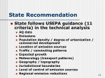 state recommendation