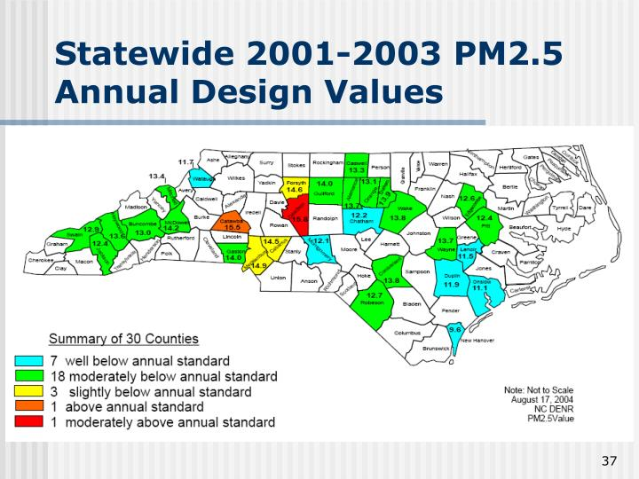 Statewide 2001-2003 PM2.5 Annual Design Values