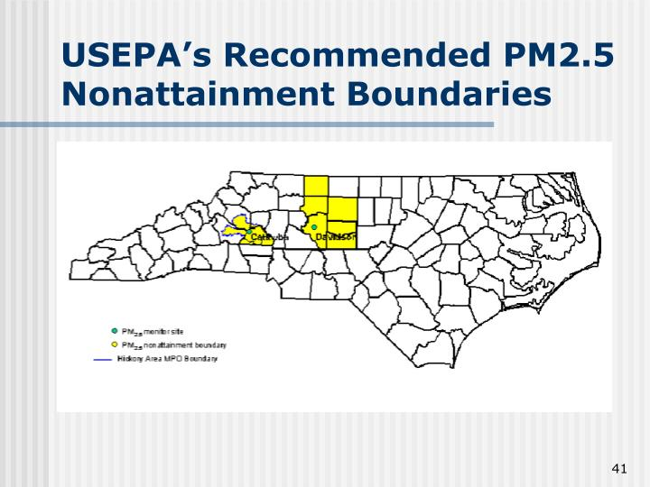 USEPA's Recommended PM2.5 Nonattainment Boundaries