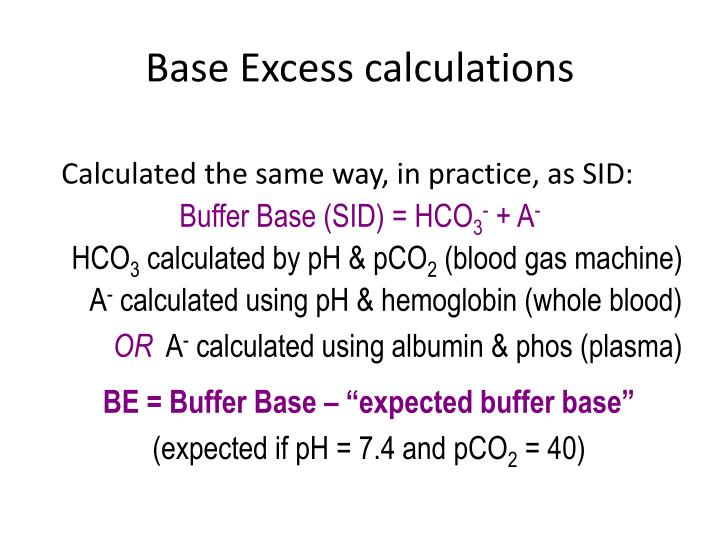 Base Excess calculations