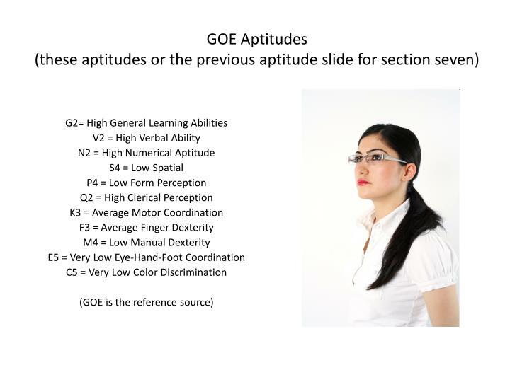 GOE Aptitudes