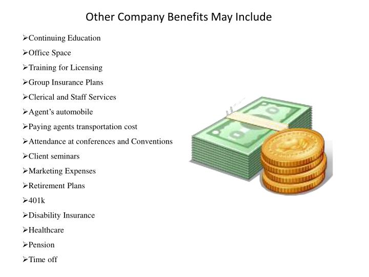 Other Company Benefits May Include