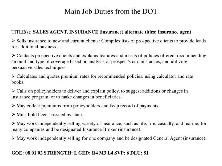 Main Job Duties from the DOT