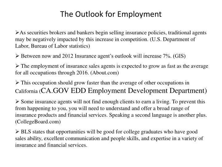 The Outlook for Employment