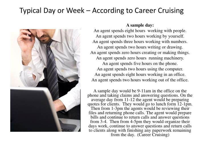 Typical Day or Week  According to Career Cruising